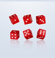 dice of red color in different perspective on a vector image