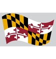 Flag of Maryland waving on gray background vector image vector image
