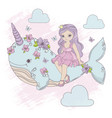 flying princess unicorn whale cartoon illus vector image vector image