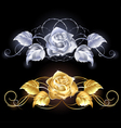 Gold and silver rose vector image vector image