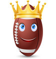 Golden crown on ball rugby vector image vector image