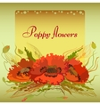 green frame with red poppy flowers and spike lets vector image vector image