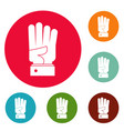 hand four icons circle set vector image