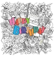 Happy Birthday doodle greeting card on white vector image