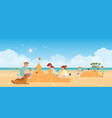 happy family playing on beach vector image vector image