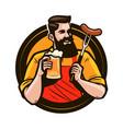 happy man holding a mug fresh beer brewery vector image vector image