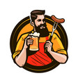 happy man holding a mug of fresh beer brewery vector image vector image