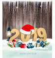 happy new year background with a 2019 and a gift vector image vector image