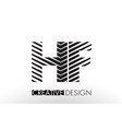 hf h f lines letter design with creative elegant vector image vector image