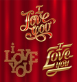 I Love You - golden decorative lettering vector image vector image