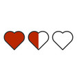 image of three hearts in a row - completely vector image vector image