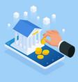 isometric concept online banking loan money vector image vector image