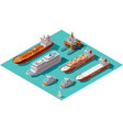 isometric ships and oil rig vector image vector image