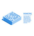 labyrinth square maze icon isometric template vector image