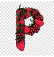 Letter P made from red berries sketch for your vector image vector image