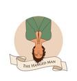major arcana emblem tarot card the hanged man man vector image vector image