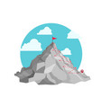 mountain hiking trail red flag and road vector image vector image