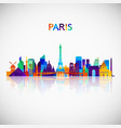 paris skyline silhouette in colorful geometric vector image
