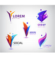people logo set human family social vector image vector image