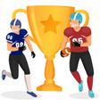 running american football players cartoon vector image