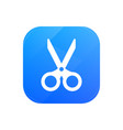 scissors flat icon office glossy icon isolated on vector image