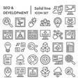 Seo and development line icon set computing