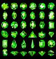set green emerald gemstones different cuts vector image