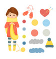 set of accessories for knittingcheerful woman vector image vector image