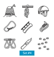 Set of black line icons for rock climbing vector image vector image