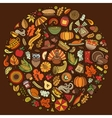 Set of Thanksgiving cartoon doodle objects vector image vector image