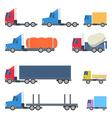 set trucks flat design vector image