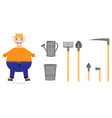 set with a farmer and rural vector image vector image