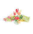 tropical flower leaf bouquet tropic paradise vector image vector image