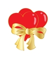 two hearts tied with ribbon on white background vector image vector image