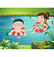 Two kids swimming in the river vector image vector image