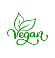 vegan logo food design vector image vector image