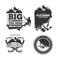 Vintage mountain climbing logo and labels