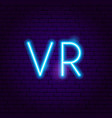 vr neon sign vector image vector image