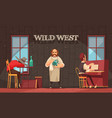 wild west bartender background vector image