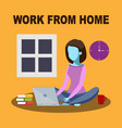 work from home - orange vector image vector image