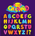 font in the cartoon style childhood vector image