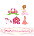 Hand drawn set of princess icons vector image
