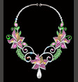 a female necklace made silver and precious vector image vector image