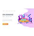 autonomous taxi concept landing page vector image vector image