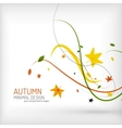 autumn floral wave on white background