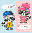 baby shower greeting card with cute raccoon vector image