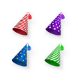 birthday hat set colorful birthday hats with vector image vector image