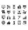 blogging online black silhouette icons set vector image vector image