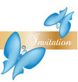 blue butterfly card invitation vector image vector image