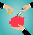 Business hand putting coin and money into a piggy vector image